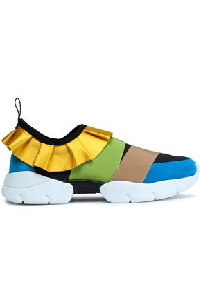 EMILIO PUCCI Ruffle-trimmed suede and canvas sneakers