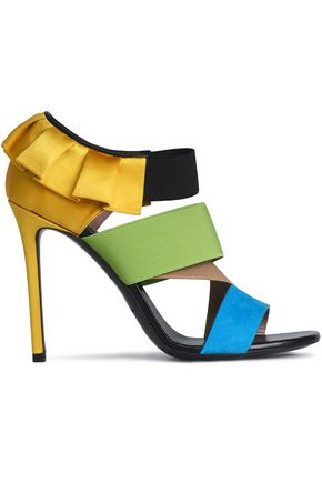 EMILIO PUCCI Color-block satin, stretch-knit and suede sandals