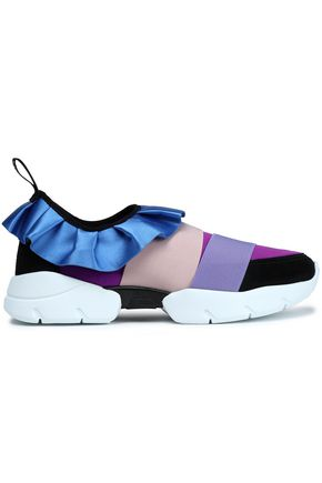 EMILIO PUCCI Ruffle-trimmed satin, scuba and suede sneakers