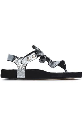 ISABEL MARANT Ruffled metallic cracked-leather sandals