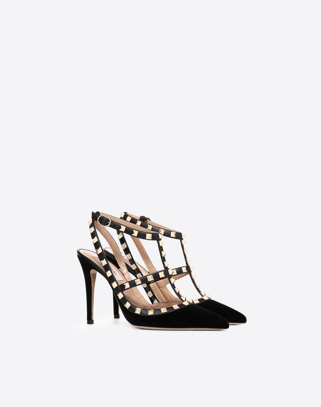 Velvet Rockstud Caged Pump 100mm