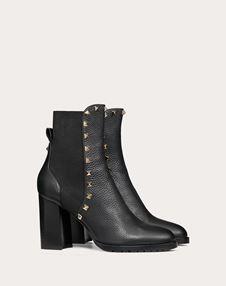 Rockstud Grainy Calfskin Ankle Boot 80 mm