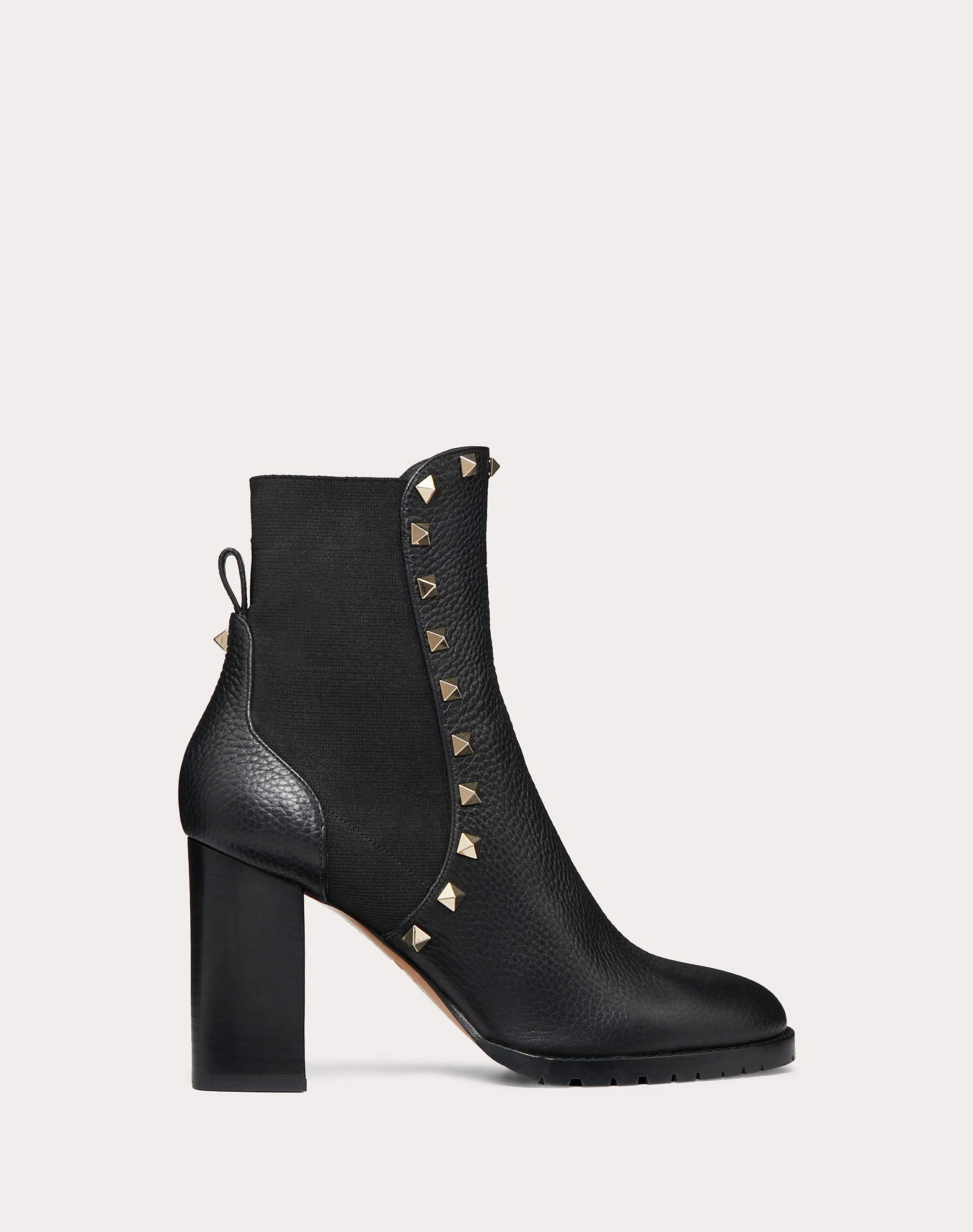 Rockstud Grainy Calfskin Ankle Boot 80 mm