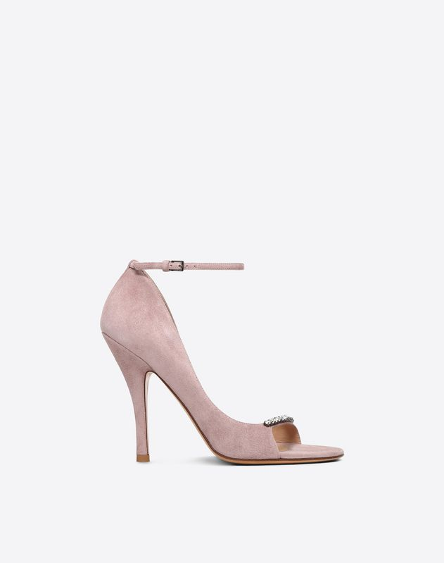 Suede D'Orsay Sandal with Crystal Detail 110mm