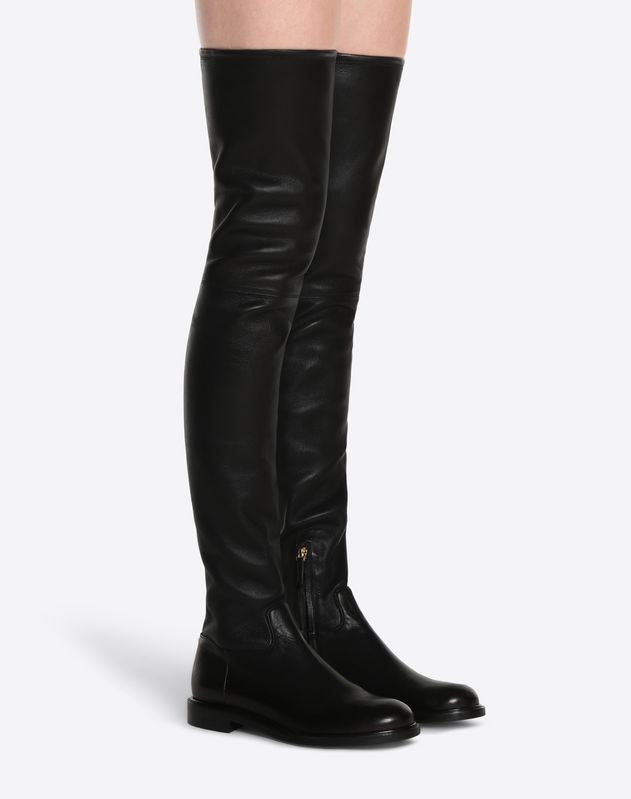 Stretch Leather Knee High Boot