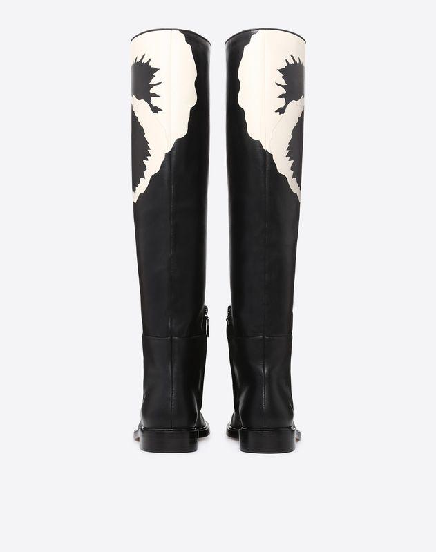 Flower Motif Knee High Boot