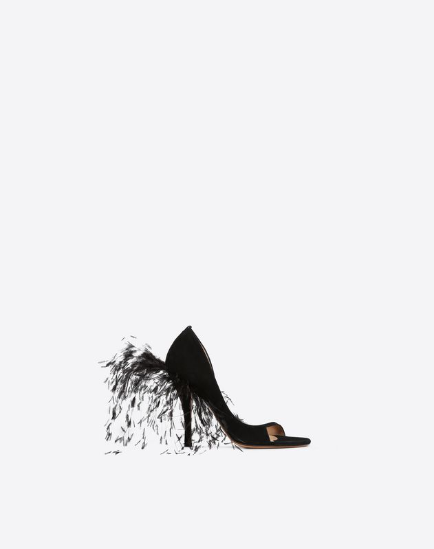 Suede D'Orsay sandal with Ostrich feathers 110mm