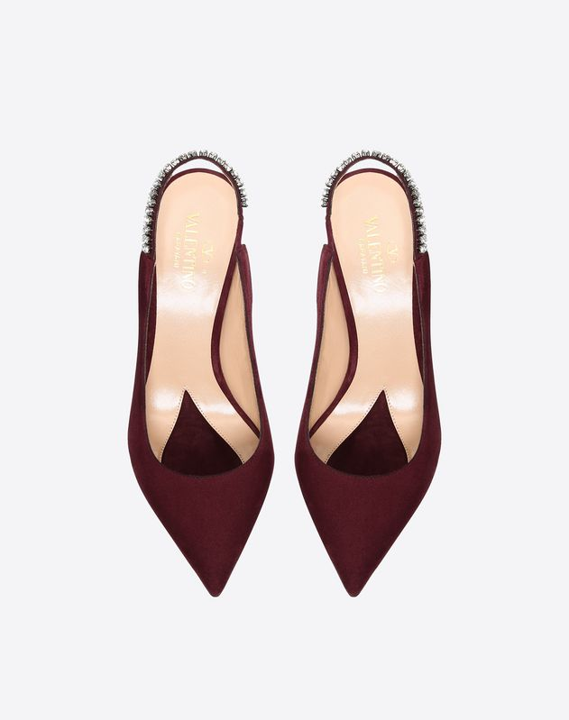 Suede Crystal Slingback Pump 90mm
