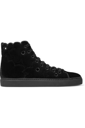 SIMONE ROCHA Eyelet-embellished velvet high-top sneakers