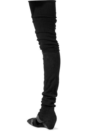 RICK OWENS Leather-trimmed suede and calf hair thigh boots