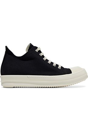 WOMAN RUBBER-PANELED CANVAS SNEAKERS BLACK