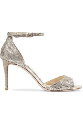 JIMMY CHOO Tori 85 embellished glittered leather sandals