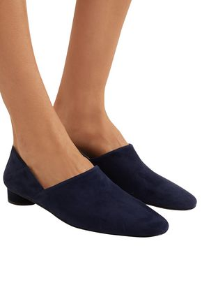 THE ROW Noelle suede collapsible-heel loafers