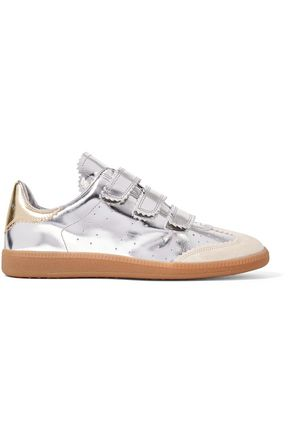 ISABEL MARANT Suede -trimmed mirrored leather sneakers