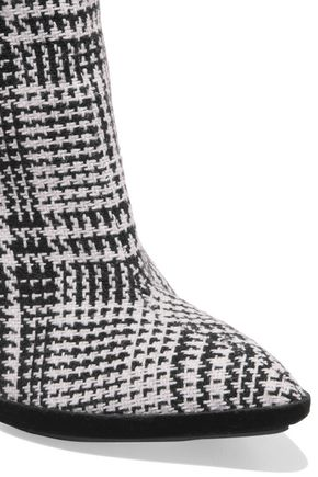 bfa2b398fa ... OFF-WHITE™ Velvet-trimmed checked knitted over-the-knee boots ...