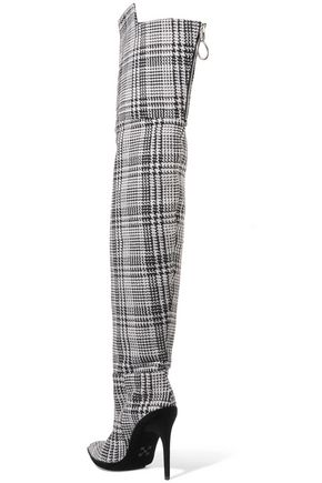 a4e7866c4d Velvet-trimmed checked knitted over-the-knee boots | OFF-WHITE ...