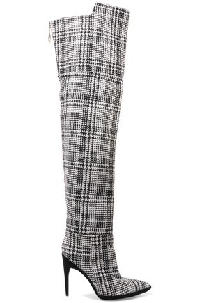 OFF-WHITE™ Velvet-trimmed checked knitted over-the-knee boots