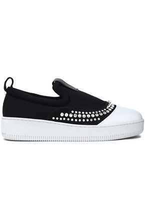 McQ Alexander McQueen Studded neoprene and leather slip-on sneakers