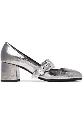 McQ Alexander McQueen Metallic cracked-leather Mary Jane pumps