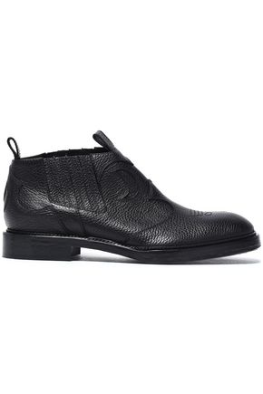 McQ Alexander McQueen Embroidered textured-leather ankle boots