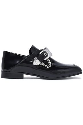 McQ Alexander McQueen Buckled glossed-leather loafers
