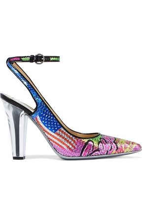 MOSCHINO Printed sequined leather pumps