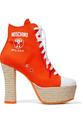 MOSCHINO Canvas platform ankle boots