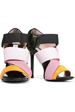 EMILIO PUCCI Pleated satin, suede and woven sandals