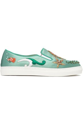 CHARLOTTE OLYMPIA Embellished satin slip-on sneakers