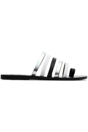 ANCIENT GREEK SANDALS Metallic leather slides