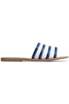 ANCIENT GREEK SANDALS Embroidered denim slides