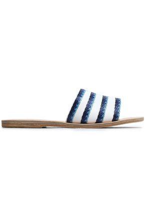 ANCIENT GREEK SANDALS Taygete raffia-trimmed leather slides