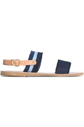ANCIENT GREEK SANDALS Frayed denim sandals