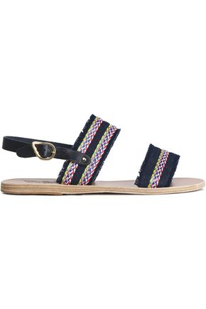 ANCIENT GREEK SANDALS Dinami raffia-trimmed leather slingback sandals