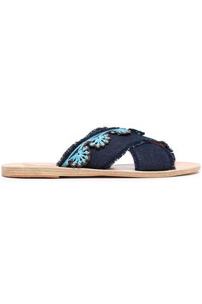 ANCIENT GREEK SANDALS Thais raffia-trimmed leather slides