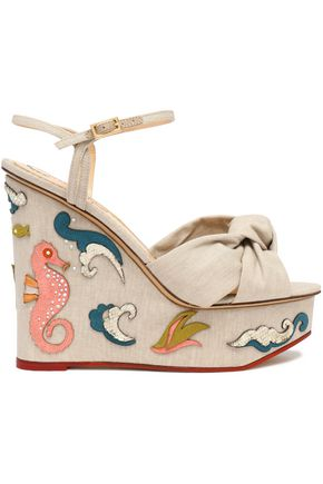CHARLOTTE OLYMPIA Knotted woven embellished linen wedge sandals
