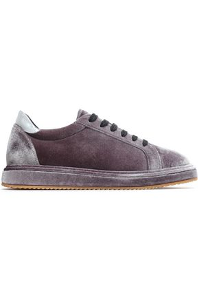 BRUNELLO CUCINELLI Patent leather-trimmed velvet sneakers