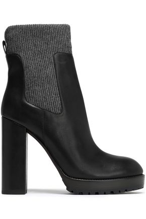 BRUNELLO CUCINELLI Bead-embellished ribbed-knit and leather ankle boots