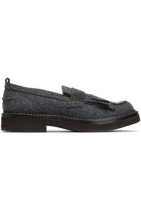 BRUNELLO CUCINELLI Patent leather-trimmed embellished felt loafers