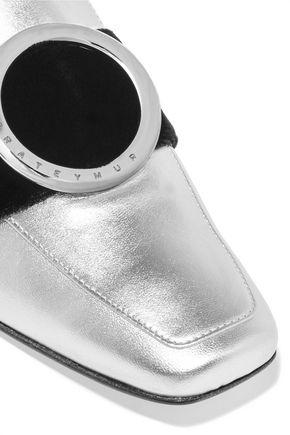 DORATEYMUR Embellished velvet-trimmed metallic leather mules