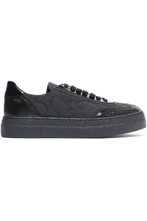 BRUNELLO CUCINELLI Paneled patent leather-trimmed and quilted shell sneakers
