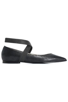 BRUNELLO CUCINELLI Bead-embellished leather point-toe flats