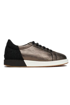 BRUNELLO CUCINELLI Metallic textured-leather and felt sneakers