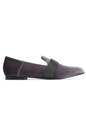 BRUNELLO CUCINELLI Bead-embellished velvet slippers