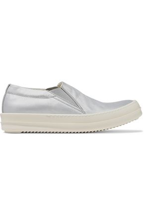 DRKSHDW by RICK OWENS Deck coated metallic leather slip-on sneakers