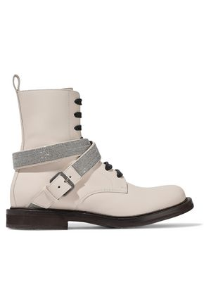 BRUNELLO CUCINELLI Buckled bead-embellished leather ankle boots