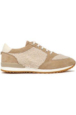 CLAUDIE PIERLOT Shearling-trimmed suede sneakers