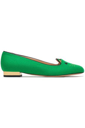 CHARLOTTE OLYMPIA Patent leather-trimmed embroidered felt slippers