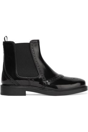 TOD'S Perforated glossed-leather ankle boots