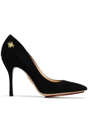 CHARLOTTE OLYMPIA Embroidered suede pumps
